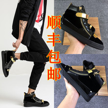 Winter GZ velvet metal double gold button men's shoes, high-top leather and velvet warm cotton shoes, zipper board shoes, fashionable women in Britain