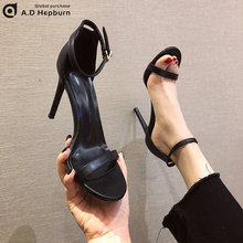 The New Summer Fine-heeled Leather Black Baitie Fashion Fairy Inspiration Trend for Women with High-heeled Sandals