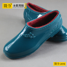 Ladies'Water Shoes, Women's Warm Shoes, Slip-proof and Waterproof Shoes, Low-Up Fashion Rain Shoes, Rubber Shoes and Flannel Rain Shoes
