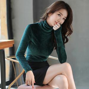 加绒打底衫女长袖秋冬2020新款洋气金丝绒加厚保暖高领上衣内搭潮