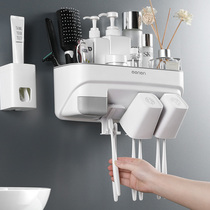 Bathroom toothbrush rack rack suction wall-mounted multi-function free punch wash cup holder set brushing Cup