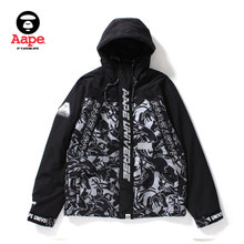 Aape Men's Wear Autumn and Winter Letter Printing Camouflage Stitching Cap Jacket Jacket 7200XX9/FW