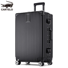 Cartier Crocodile Luggage for Male and Female Students Aluminum Framed Universal Wheel 28-inch Business Pull-rod Box 20 Password Boarding Box