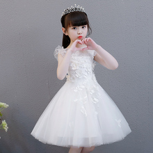 Girl Princess Skirt, Pompon Girl Host Evening Dress, White Flower Girl Wedding Dress, Piano Show Dress, Summer