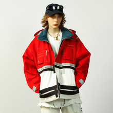 UNVESNO winter fashion brand retro cotton jacket for young men and students with loose jacket jacket and spliced cotton jacket