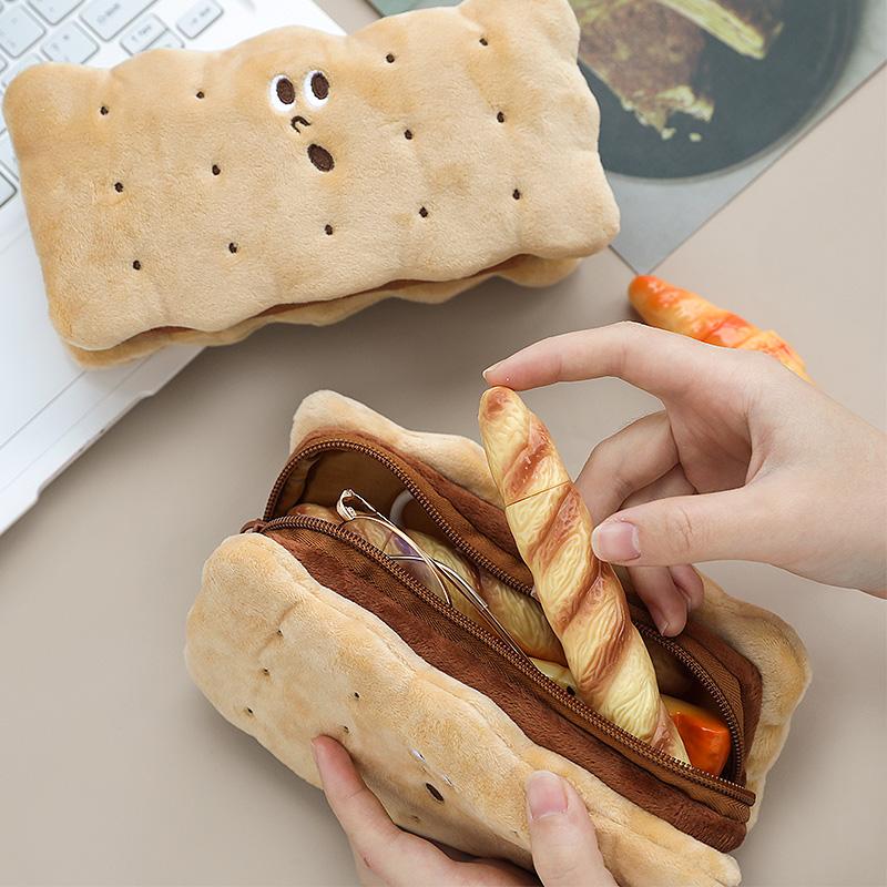 夾心餅干毛絨鉛筆袋 簡約潮ins大容量網紅小學生可愛文具盒少女心