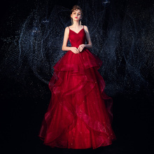 Wine dress bride spring and summer style evening dress style of 2019 Queen's banquet temperament simple and generous wedding wine red