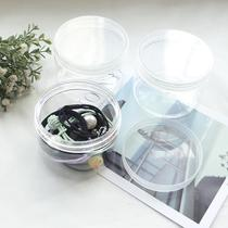 Hair accessories plastic lid round transparent cans plastic jars transparent hair rope rubber band clip storage storage box