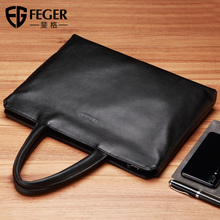 Figg Handbag Men Hand Business Briefcase Cross-section Leather Leisure Cowskin Bag Computer Bag Chao Men's Bag