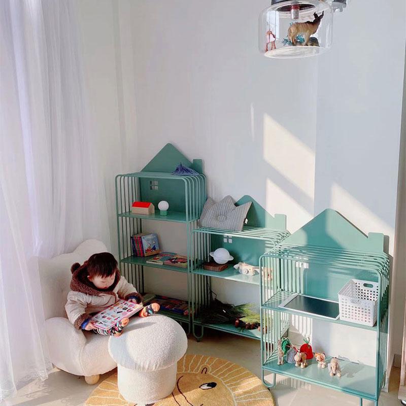 儿童书架置物架落地收纳柜书柜客厅简易小家用铁艺房子北欧绘本架