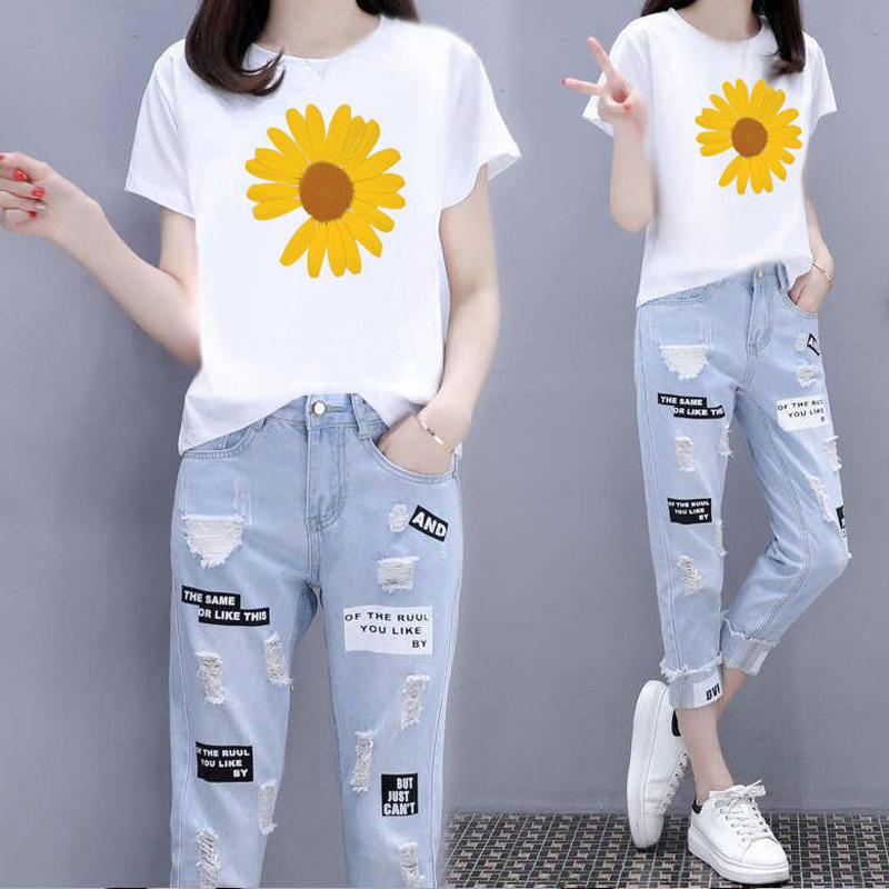 小雏菊印花短袖t恤上衣女2020夏新高腰直筒破洞休闲牛仔裤两件套