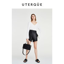 Uterque 2018 new simple locomotive leather bowling bag Boston bag woman 01124705800