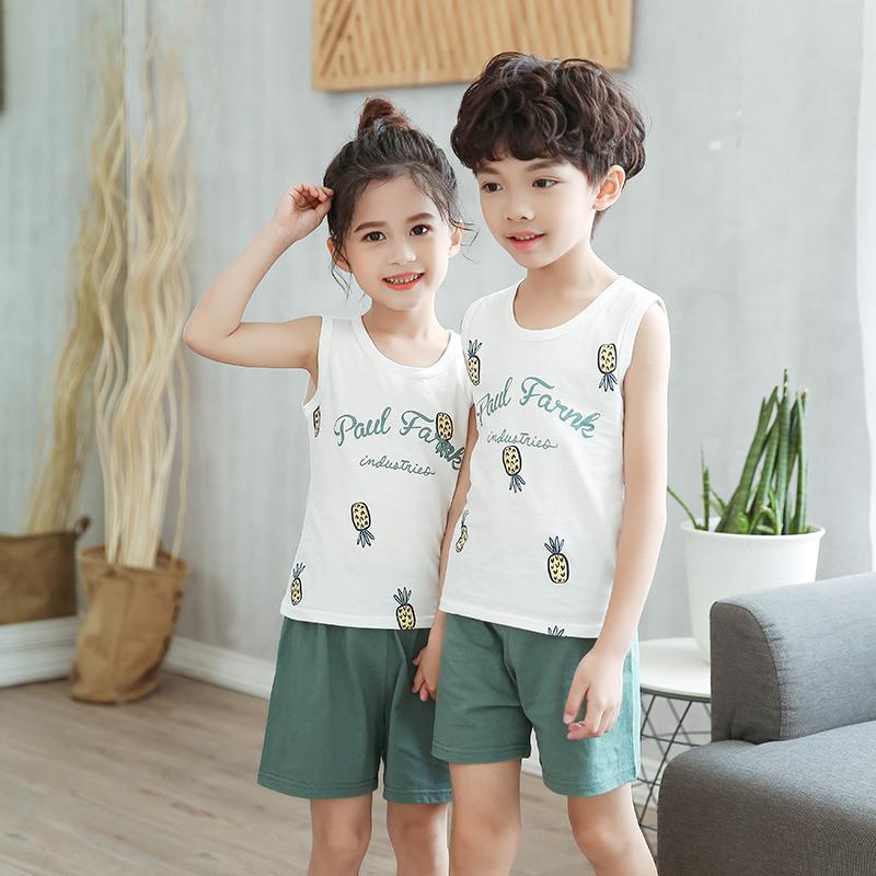 夏季儿童背心套装纯棉男童女童2020新款夏装无袖宝宝短裤两件套薄