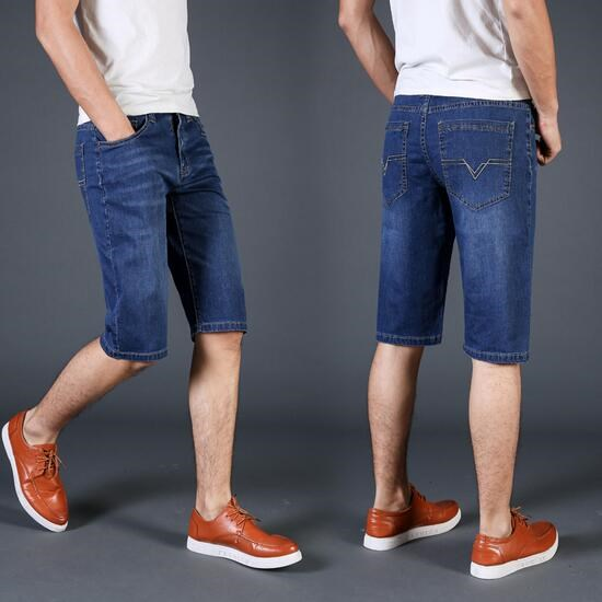 Summer thin denim shorts men's straight pants men's five-point pants loose size seven points casual horse pants men's