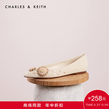 CHARLES & KEITH Low Uppers CK1-70900125 Stereo Flower Decoration Lady's Tip Flat sole Single Shoes