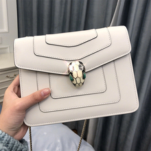 Snake Head Baonu Leather Chain Bag Slant Summer 2019 New Fashion Single Shoulder Hand-held White Square Bag CK
