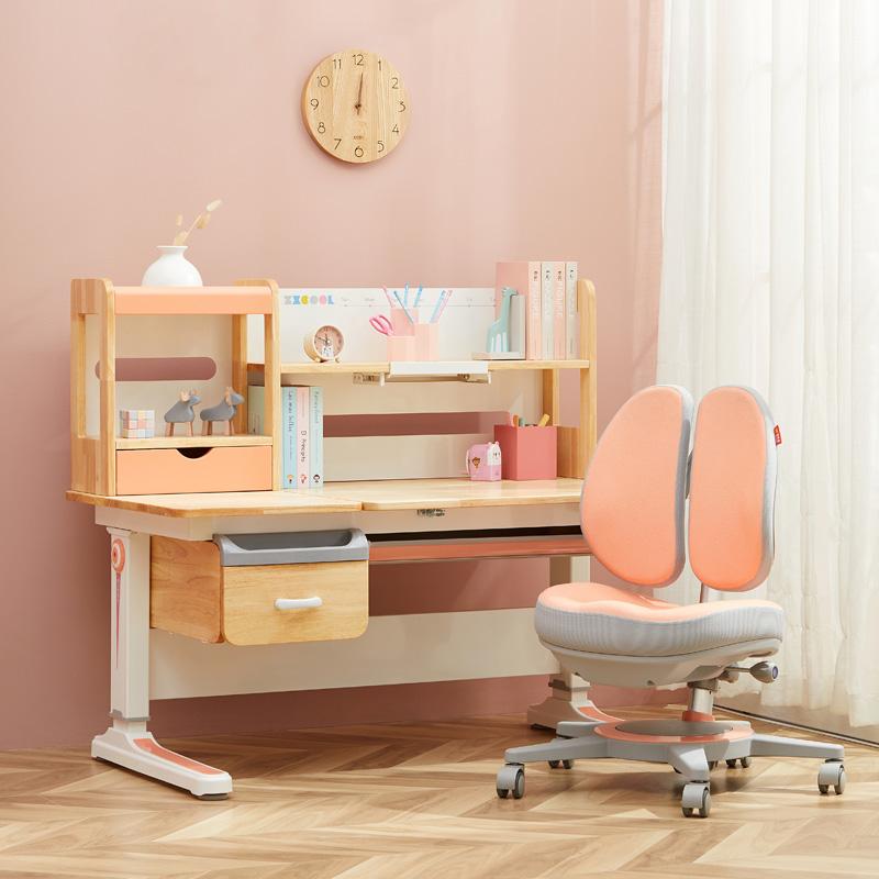 智學庫兒童學習桌寫字桌椅套裝小學生實木書桌子可升降家用課桌椅