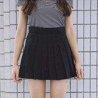 爱爱丸自制A字高腰百褶裙短夏季纯色甜美学院半身裙女黑色灰色