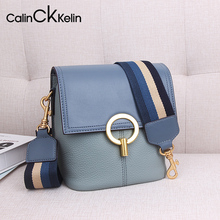 Small CK lady bag leather bucket bag 2019 new fashionable red bag lady slanting bag broadband single shoulder bag