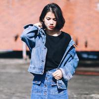 韩版秋冬季牛仔外套女短款oversize复古长袖牛仔夹克宽松大码