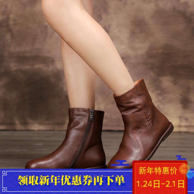 冬季原创简约复古文艺头层牛皮手工女棉靴加绒软底马丁靴休闲短靴
