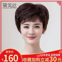 Wig Female Short Hair, Short Curly Hair, Round Face, Human Hair Silk Send to Mother's Middle-aged and Old-aged Wig Cover, Breathable Shape Real Hair Cover