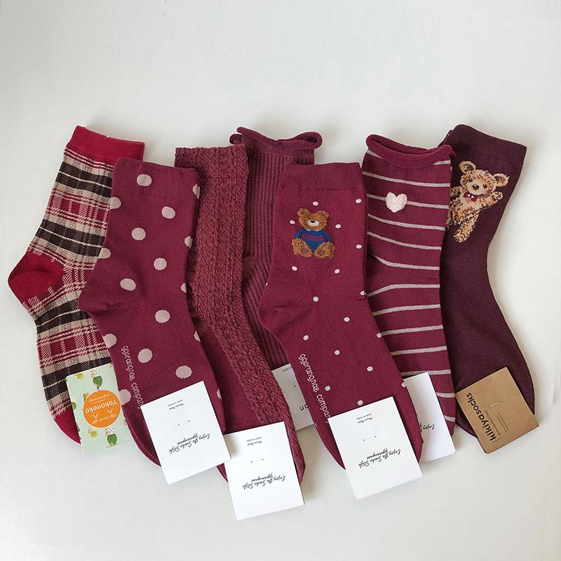 韩国本命年红袜子女纯棉鼠年中筒袜纯色小熊波点爱心条纹圆点棉袜