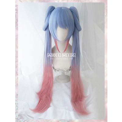 taobao agent AOI Spot King of Glory Sun Shangxiang Lovers of Time Double Ponytail High Temperature Silk Cosplay Wig