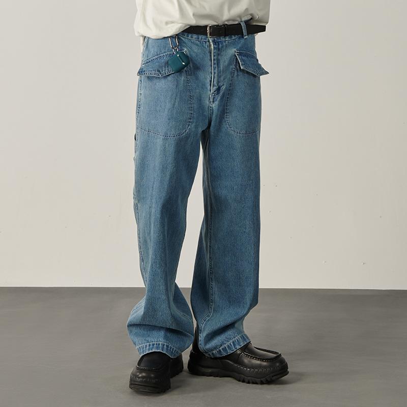 Les Fortes 20ss 春夏廓形宽松工装多口袋牛仔裤蓝色滑板直筒男女