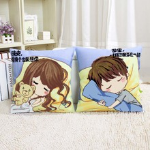 A pair of 5d new couple cute cross stitch pillow home cartoon anime wedding sofa pillowcase set