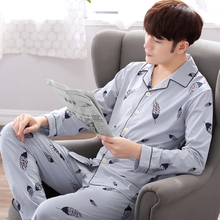 Sleepwear Men's Long Sleeve Pure Cotton Summer and Summer Men's Sleepwear All-cotton Thin-style Middle-aged Spring and Autumn Home Suit