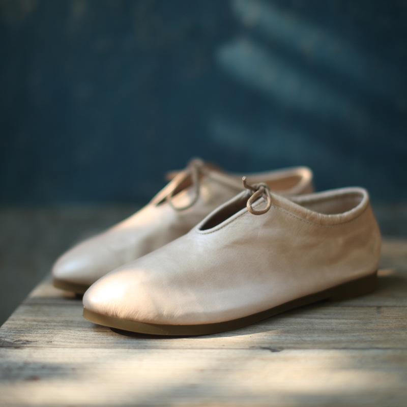 棉麻布衣搭配鞋原創設計手工鞋復古文藝范頭層牛皮軟舒適森女鞋子