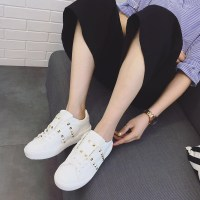 蜜桃家秋季新款百搭铆钉小白鞋女系带韩版学生板鞋平底运动休闲鞋