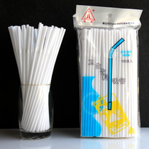 Disposable white elbow cola drink soy milk plastic straw