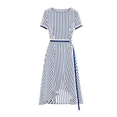 朗姿  裙子女2019夏装新款A字裙圆领蓝色条纹沙滩裙短袖连衣裙女
