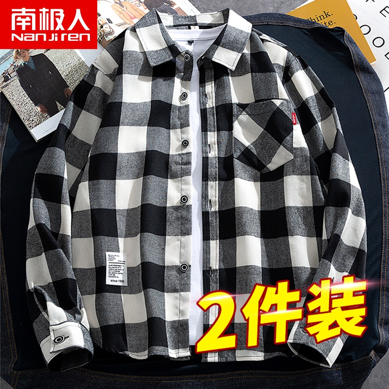 Shirt mens spring and autumn plaid loose students handsome Korean version of the lapel top mens fashion cardigan jacket