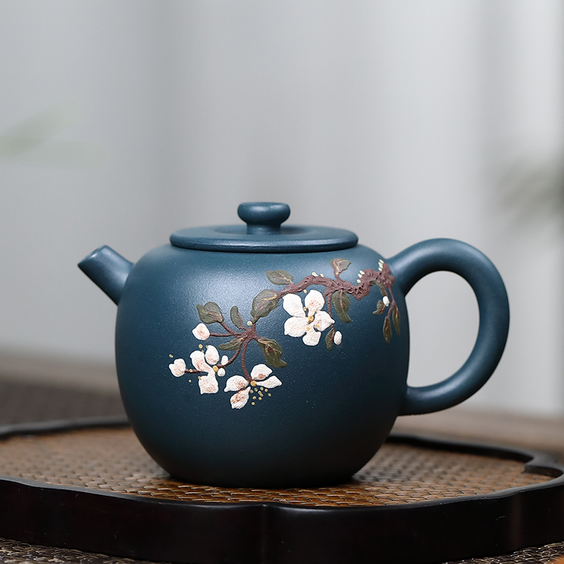 Yixing authentic purple sand pot pure all-hand Republic of China green Yayun pot kung fu tea set home set teapot