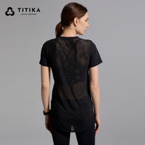 TITIKAACTIVE) Yoga Robe Mesh Lace Hood Sports T-Shirt Sweat Youting Top Femme 61314