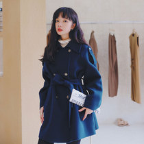 Mao coat female middle-length double-row buckle waist thin autumn and winter 2020 new small middle-length coat