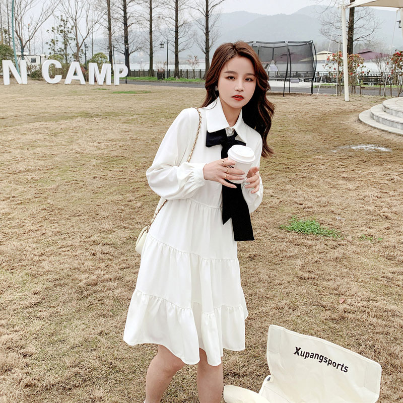 White dress womens spring and autumn long sleeves small 2021 new first love department cover belly 150 college style skirt
