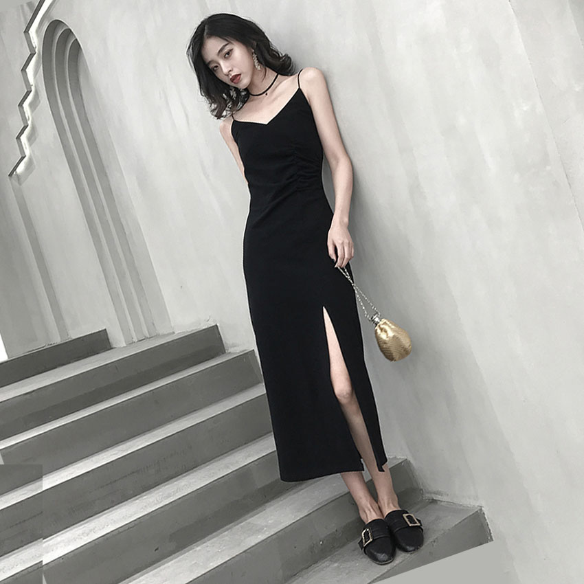 Summer's new sexy V-neck sling little black dress waist-length thin open fork long skirt with a bottomed dress tide