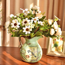 American table decoration ceramic vase simulation dry flower European-style pastoral living room ornaments arrangement mystery jewelry