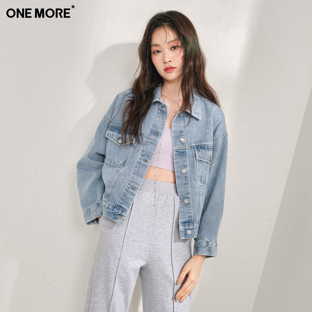 ONE MORE2021 Spring and Autumn New short denim jacket denim jacket with coat cardigan