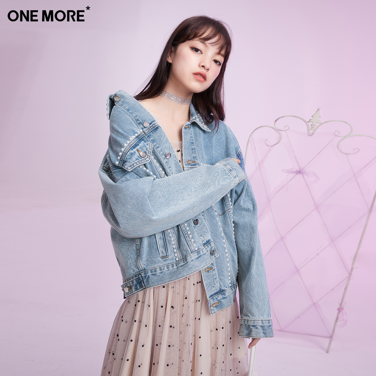ONE MORE2021 Spring new nail-beaded denim jacket loose denim Korean version of the short coat fashion womens wear