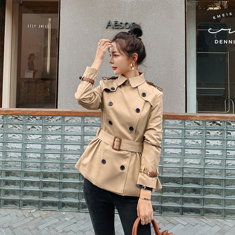 Small windbreaker womens mid-length waist thin belt 2021 new short double row buckle small mid-length jacket