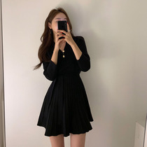 2020 Spring and Autumn new Korean version of the small V collar waist thin a-word sweater skirt long-sleeved knitted dress