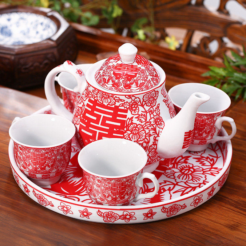 Fei looking for Chinese red teacup creative ceramic wedding teapot wedding teapot wedding tea set new wedding gifts