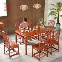 Art League Yum Ming-style redwood table rectangular large fruit eucalyptus table family combination Burmese simple table.