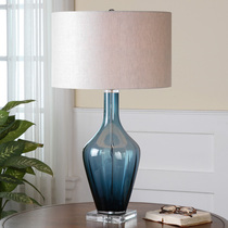 Blue glass crystal decorative table lamp living room European neoclassical French model room jewelry handicrafts.