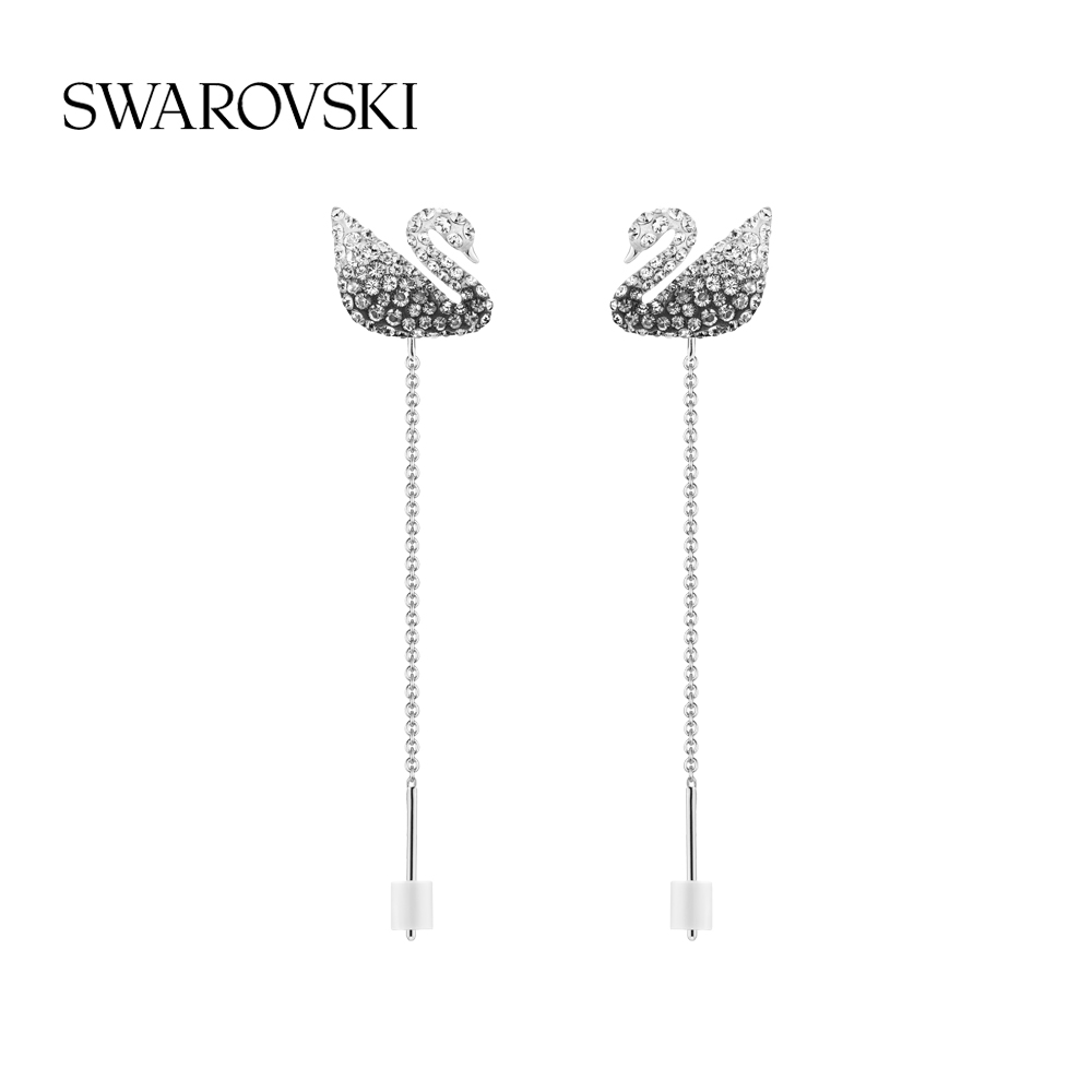 (New) Swarova Swartz black and white gradient swan ICONIC SWAN womens earrings